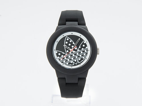 ADIDAS   Aberdeen Black and Silver Dial Silicone Ladies Watch
