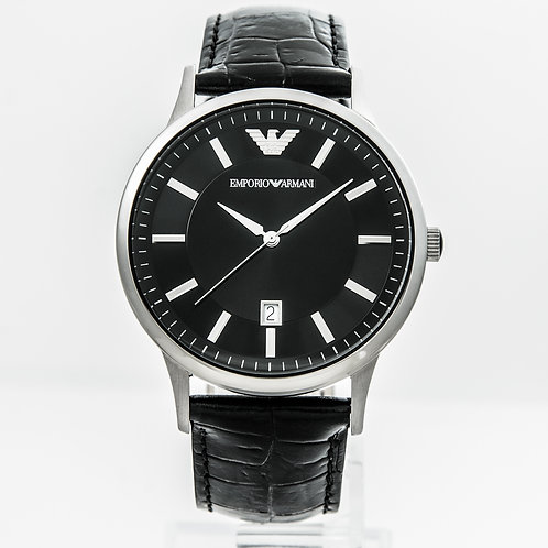 Emporio Armani | Mens Black Leather Strap Watch