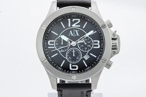 Armani Exchange | Chronograph Black Dial Black Leather Men's Watch