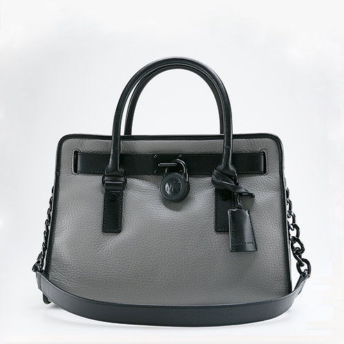 MICHAEL KORS | Hamilton Two-Tone Steel Grey Leather Bag