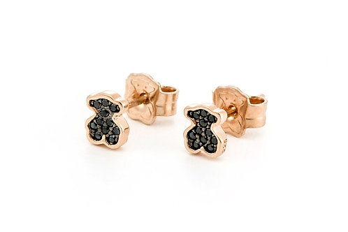 TOUS | Rose Vermeil Silver Motif Earrings with Spinel
