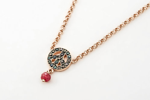 TOUS | Pink Silver Motif Necklace with Spinel and Ruby