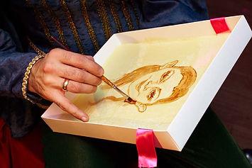 заказать портрет из шоколада, рисование на шоколаде