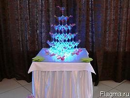 подсветка пирамиды шампанского в Перми заказать, красивая пирамида шампанского, освещение пирамиды шампанского