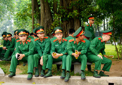 soldiers off parade