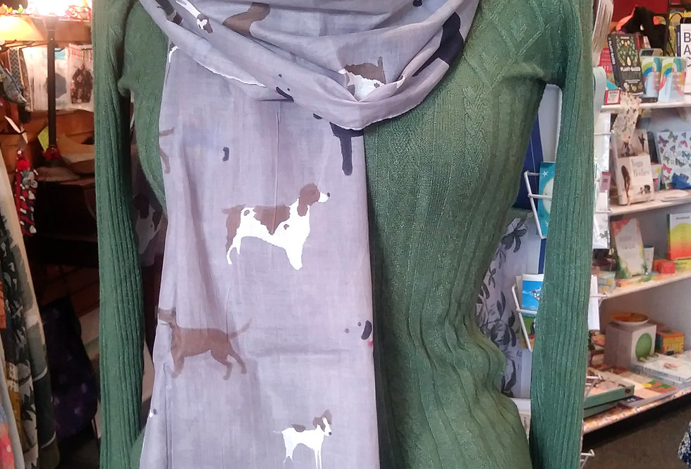 Dogs on Gray Scarf