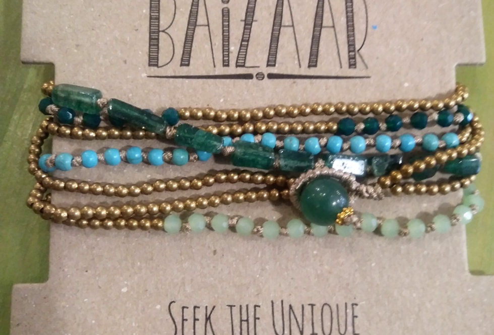 Turquoise and Brass Wrap Bracelet / Necklace