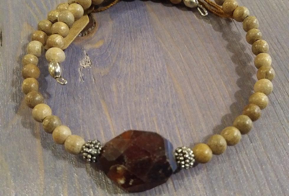 Garnet and Sandalwood Bracelet