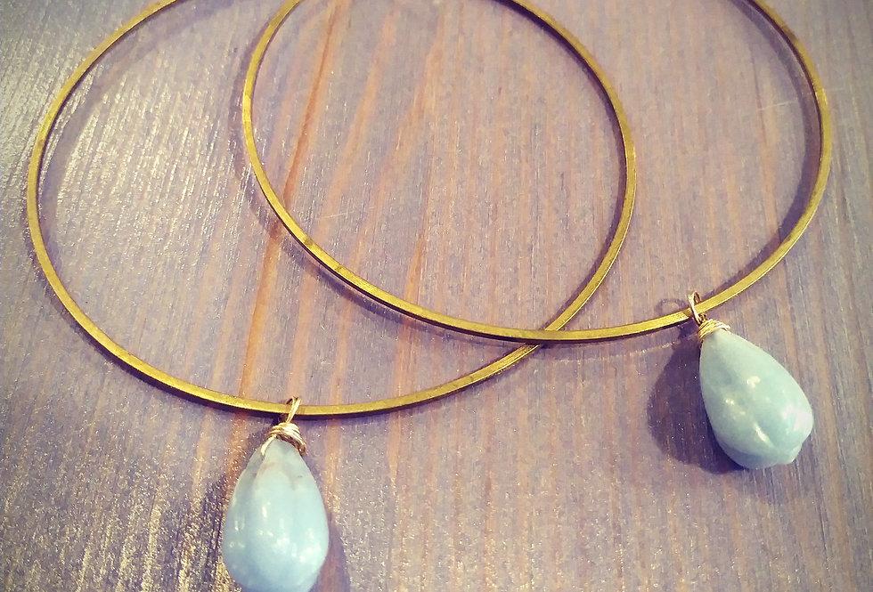 Blue Jaspar Hoop Earrings