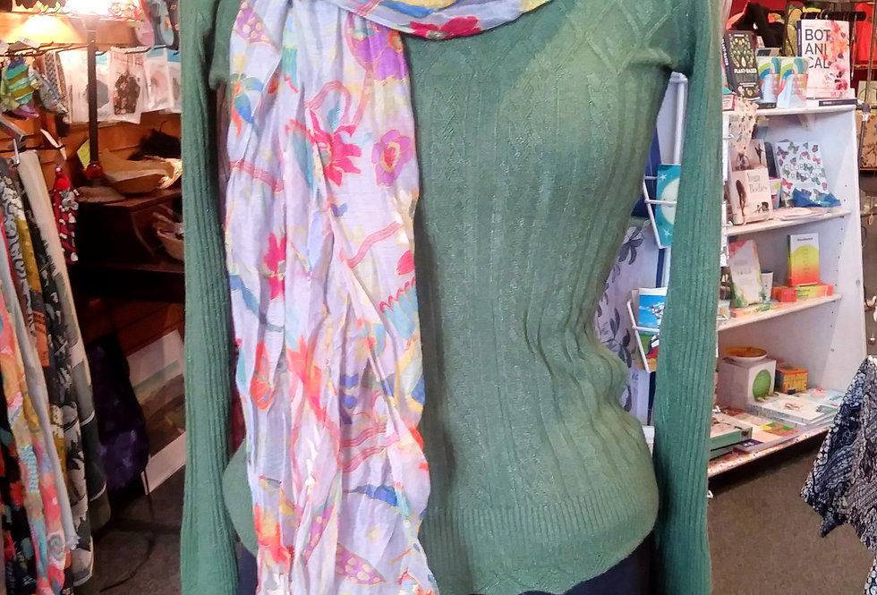 Flowers and Hummingbirds Scarf
