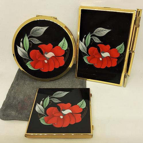 Stratton Red Poppy Notebook Holder, Compact & Handbag Mirror