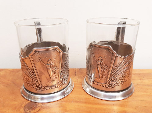 Pair of Russian Silver Plated Cup Holders with Glass Insert