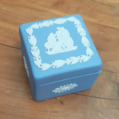 Wedgwood Blue Jasperware Small Square Box Coriolanus