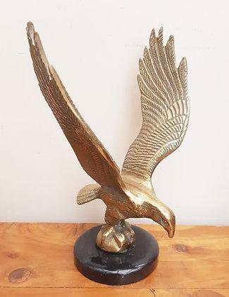 Large Vintage Brass Eagle on Black Marble Base