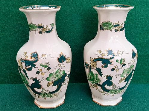 "Pair Mason's Chartreuse 8"" Vases"