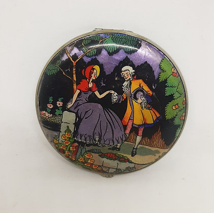 Art Deco GWENDA Tap Flap Compact Foil Courting Couple