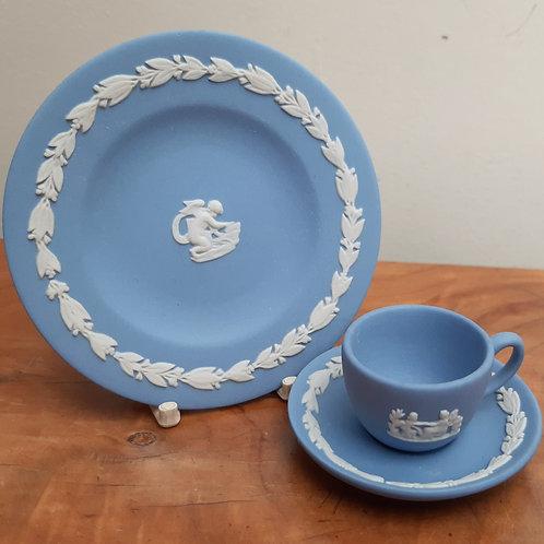Wedgwood Blue Jasperware Miniature Trio