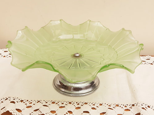 Art Deco Sowerby Frosted Green Glass Cake Stand