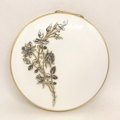 Classy Stratton Compact White Enamel Long Stem Roses