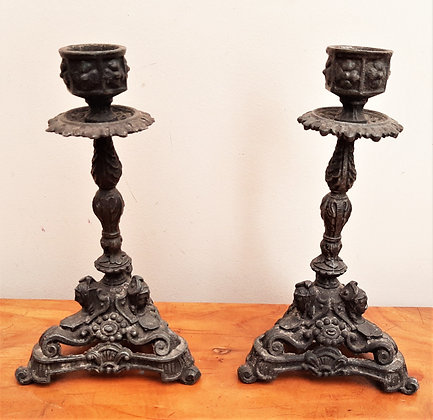 Pair of French Spelter Candlesticks