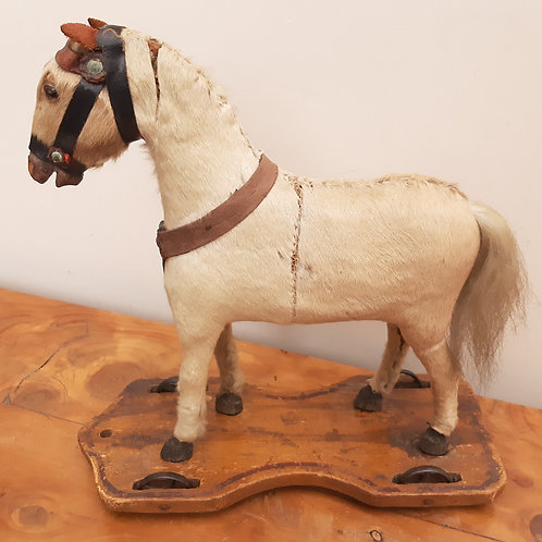 Victorian Childs Pull-Along Skin Covered Toy Horse