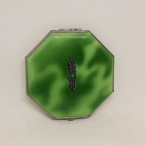 Gwenda Art Deco Green Marbled Tap Flap Compact