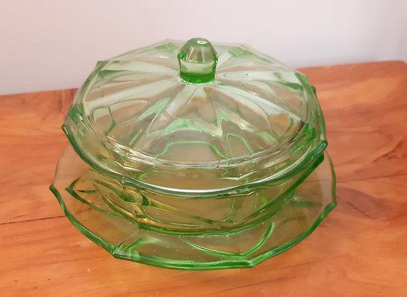 Art Deco Uranium Glass Butter Dish