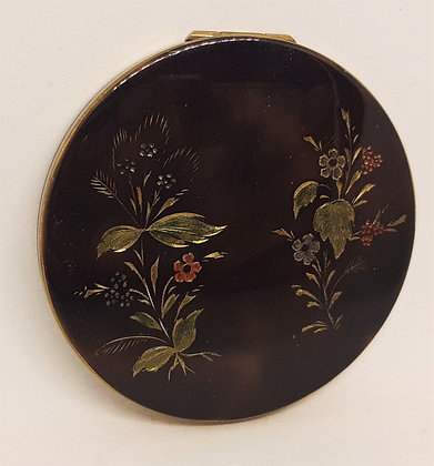 Faux Tortoiseshell Floral Engraved Powder Compact