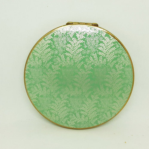 1940s Stratton Flapjack Compact Green Enamel Silver Ferns