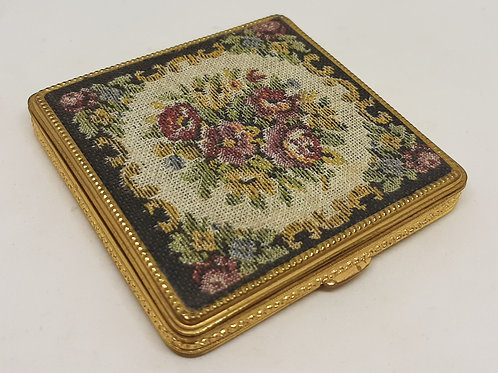Rex Rose Floral Tapestry Double Mirror Compact 1930s