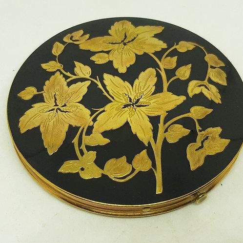 Rex Fifth Avenue Powder Compact Black Enamel Goldtone Flowers