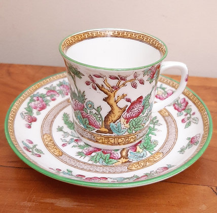 Foley China Coffee Can & Saucer Hand Painted Indian Tree