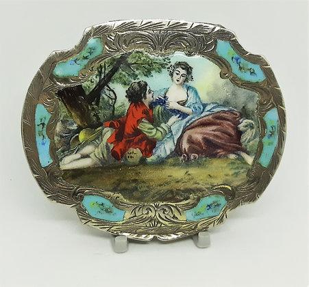 Italian Silver Powder Compact Hand Painted & Enamel Gilt Interior