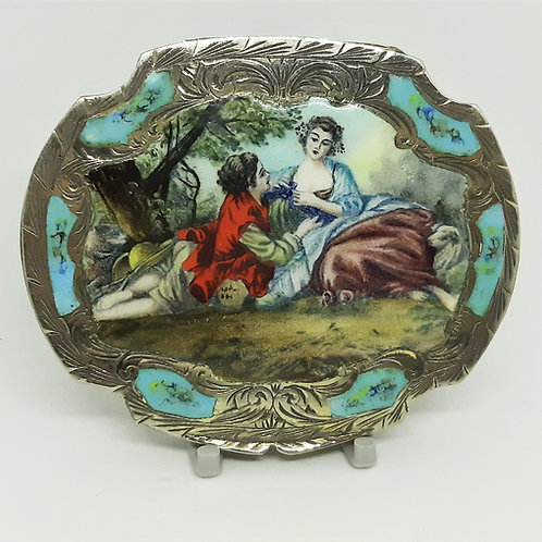 Italian Silver Powder Compact Hand Painted & Enamel Gilt Interior