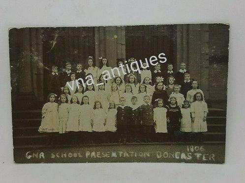 G.N.R Doncaster School Presentation RP Postcard 1906