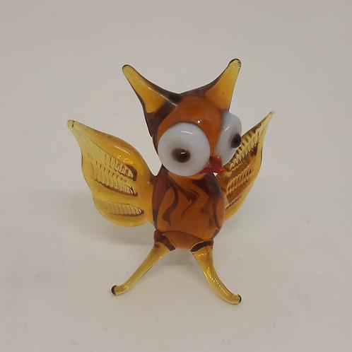 Murano Amber Glass Lampwork Owl