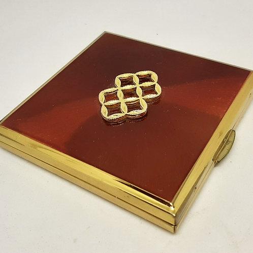 Stunning KIGU Red & Gold Square Powder Compact