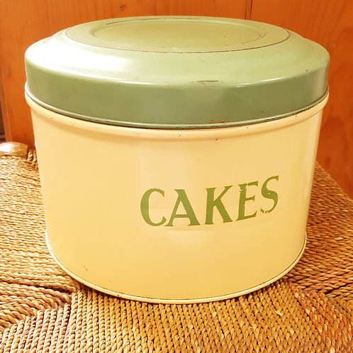 Super 1950s TALA Cake Tin Green/Cream Enamel