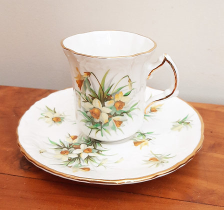 Hammersley China Demitasse Coffee Cup & Saucer Yellow Jonquils