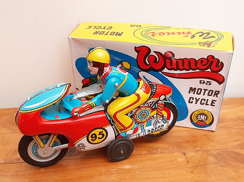 Winner 95 Tin Plate Friction Motorcycle OMI Boxed