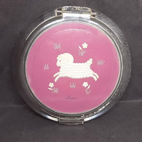 1940s Ziegfeld Zodiac Girls Lucite Powder Compact Aries Ram