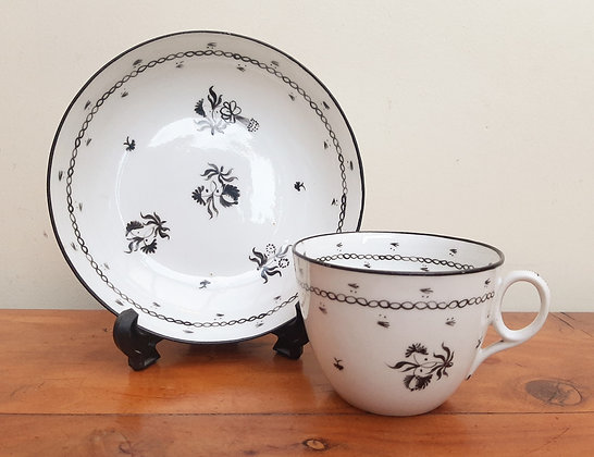 c1800 New Hall Bute Cup & Saucer Black Sprigs