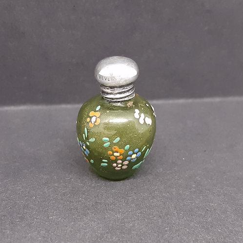 Silver top olive glass miniature scent bottle enamel flowers