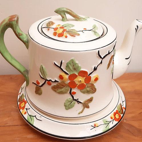 T.F & S Phoenix Pottery Teapot & Stand BLOSSOM c1920s
