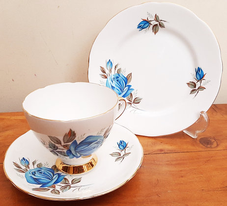 Gladstone China Tea Trio Blue Rose 4419