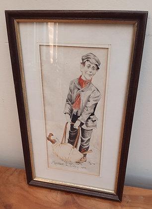 Maureen L Coley Original Watercolour Lad with Tool Bag