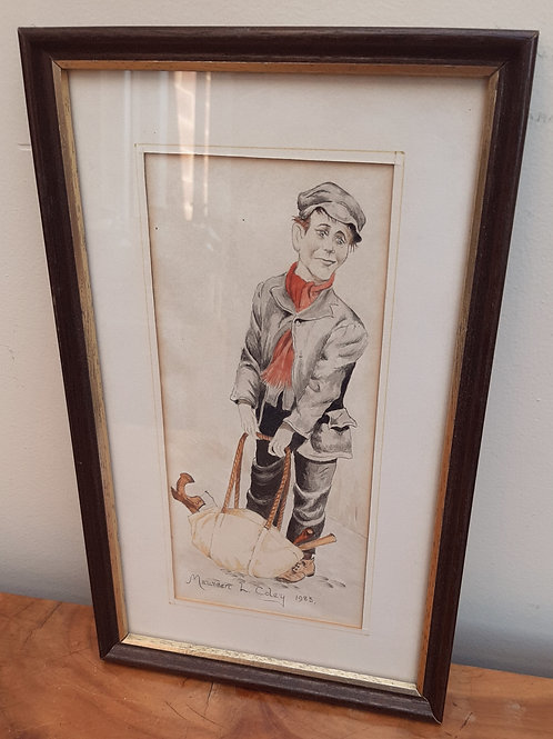 Maureen L Coley Original Watercolour Lad with Tool Bag