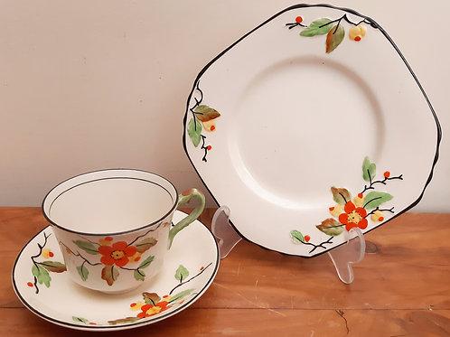 T.F & S Phoenix Pottery Tea Trio BLOSSOM c1920s