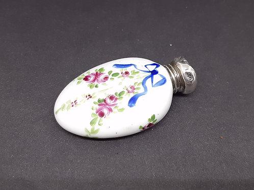 Pretty Antique Porcelain Painted Scent Bottle Blue Bows Pink Roses