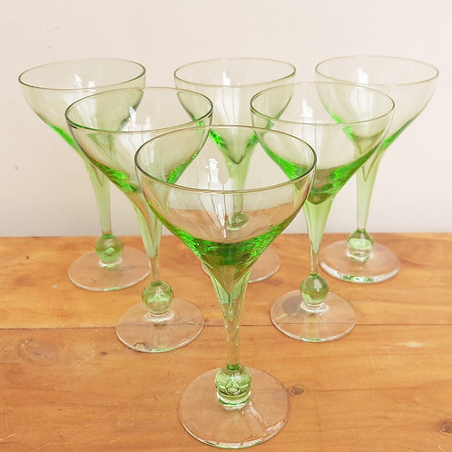 Superb Set x6 Green Glass Cocktail Glasses Ball Stem